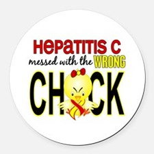 Hepatitis C MessedWithWrongChick1 Round Car Magnet