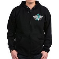 Cervical Cancer Fighter Wings Zip Hoodie
