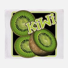Kiwi Fruit Illustration Throw Blanket