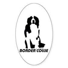 Border Collie Line Art - Sitting Oval Decal