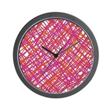 Pink and Orange Scribbles Wall Clock