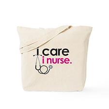 i care i nurse pink Tote Bag