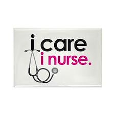 i care i nurse pink Rectangle Magnet (10 pack)