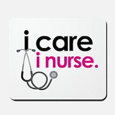 i care i nurse pink Mousepad