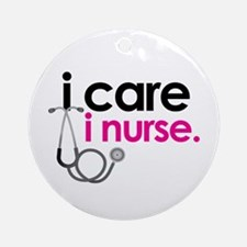 i care i nurse pink Ornament (Round)