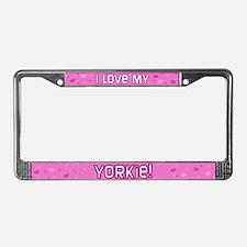Pink Polka Dot Yorkie License Plate Frame