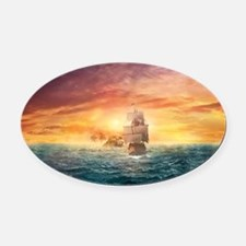 Pirate ship Oval Car Magnet