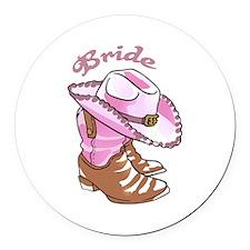 COWGIRL BRIDE Round Car Magnet