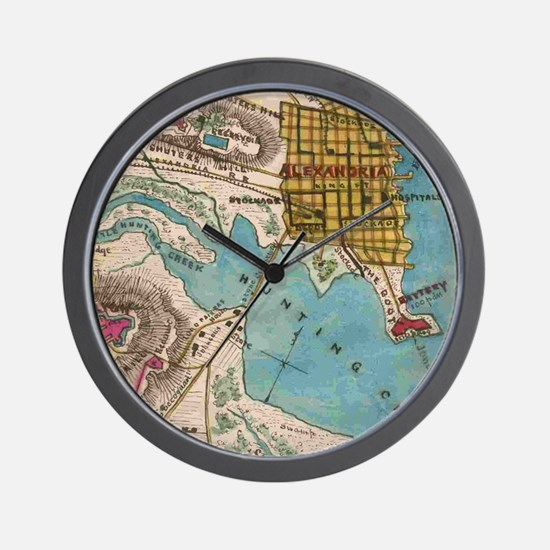 Map of Alexandria VA and Neighbor Citie Wall Clock