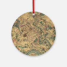 Vintage Antietam Battlefield Map (1 Round Ornament