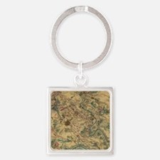 Vintage Antietam Battlefield Map ( Square Keychain