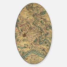 Vintage Antietam Battlefield Map (1 Sticker (Oval)