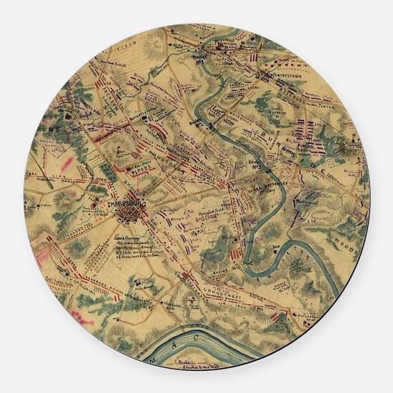 Vintage Antietam Battlefield Map  Round Car Magnet