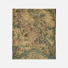 Vintage Antietam Battlefield Map (18 Throw Blanket