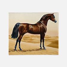 Vintage Arabian Horse Painting by Wi Throw Blanket