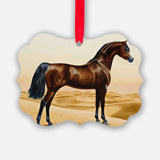 Vintage Arabian Horse Painting by Ornament