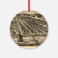 Vintage Pictorial Map of Asbury Par Round Ornament