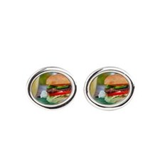 Gourmet Burger and Smoothies  Oval Cufflinks