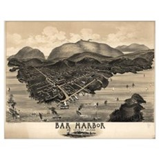 Vintage Pictorial Map of Bar Harbor (1886) Poster