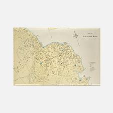 Vintage Map of Bar Harbor Maine ( Rectangle Magnet