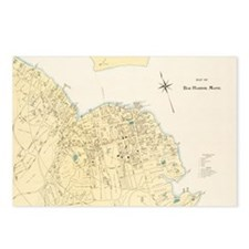 Vintage Map of Bar Harbor Postcards (Package of 8)