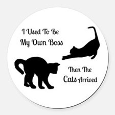 Funny Cat Boss Round Car Magnet