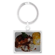 Barbecue Chicken and Corn  Landscape Keychain