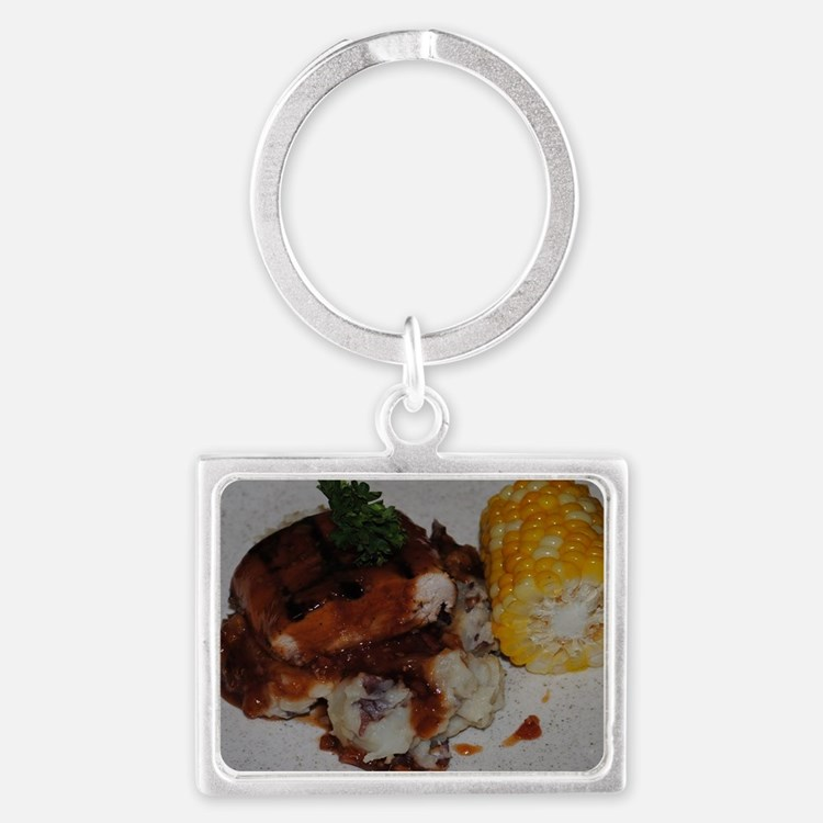 Barbecue Chicken and Corn  Landscape Keychain