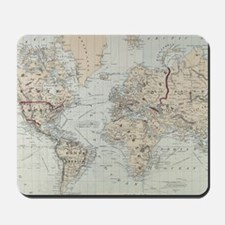 Vintage Map of The World (1875) Mousepad