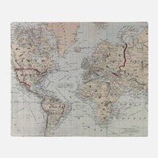 Vintage Map of The World (1875) Throw Blanket