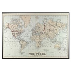 Vintage Map of The World (1875) Framed Print