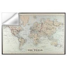 Vintage Map of The World (1875) Wall Decal