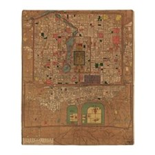 Vintage Map of Beijing China (1914) Throw Blanket