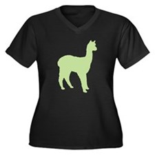 Alpaca (#2 in green) Women's Plus Size V-Neck Dark