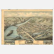 Vintage Pictorial Map of Birmingham CT (1876)