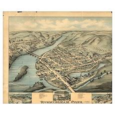 Vintage Pictorial Map of Birmingham CT (1876)  Poster