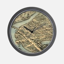 Vintage Pictorial Map of Birmingham CT  Wall Clock