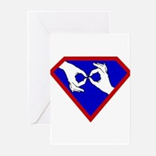 Super ASL Interpreter - Blue Greeting Cards (Pk o