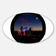merry christmas from the left Oval Decal