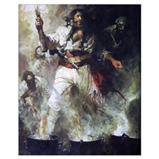 Blackbeard in Smoke and Flames Poster