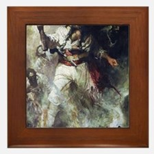 Blackbeard in Smoke and Flames Framed Tile