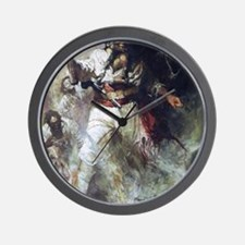 Blackbeard in Smoke and Flames Wall Clock