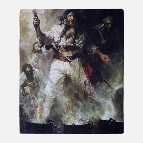 Blackbeard in Smoke and Flames Throw Blanket