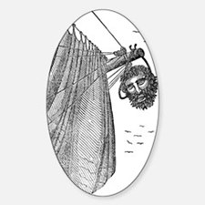 Blackbeard's Head Being hung from t Sticker (Oval)