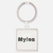 Myles Wolf Square Keychain