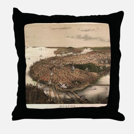 Vintage Pictorial Map of Boston (1877 Throw Pillow