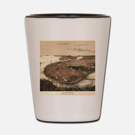 Vintage Pictorial Map of Boston (1877) Shot Glass