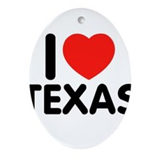I love Texas Oval Ornament