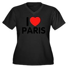 I love Paris Women's Plus Size V-Neck Dark T-Shirt