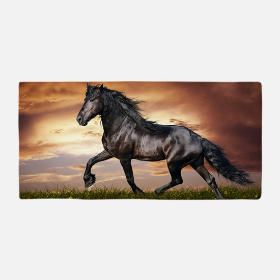 Beautiful Black Horse Beach Towel